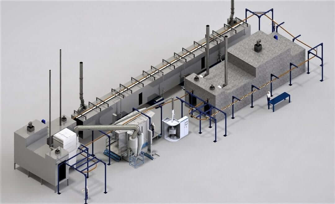 Powder coating line in 3D benefits from graduate student engineer
